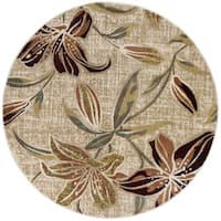 Alise Rugs Decora Transitional Floral Round Area Rug - 7'10