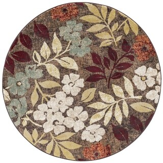 Alise Rugs Decora Transitional Floral Round Area Rug - 5'3 x 5'3