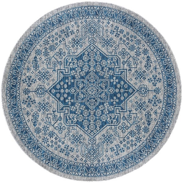 Alise Rugs Colonnade Traditional Medallion Round Area Rug - 5'3 x 5'3