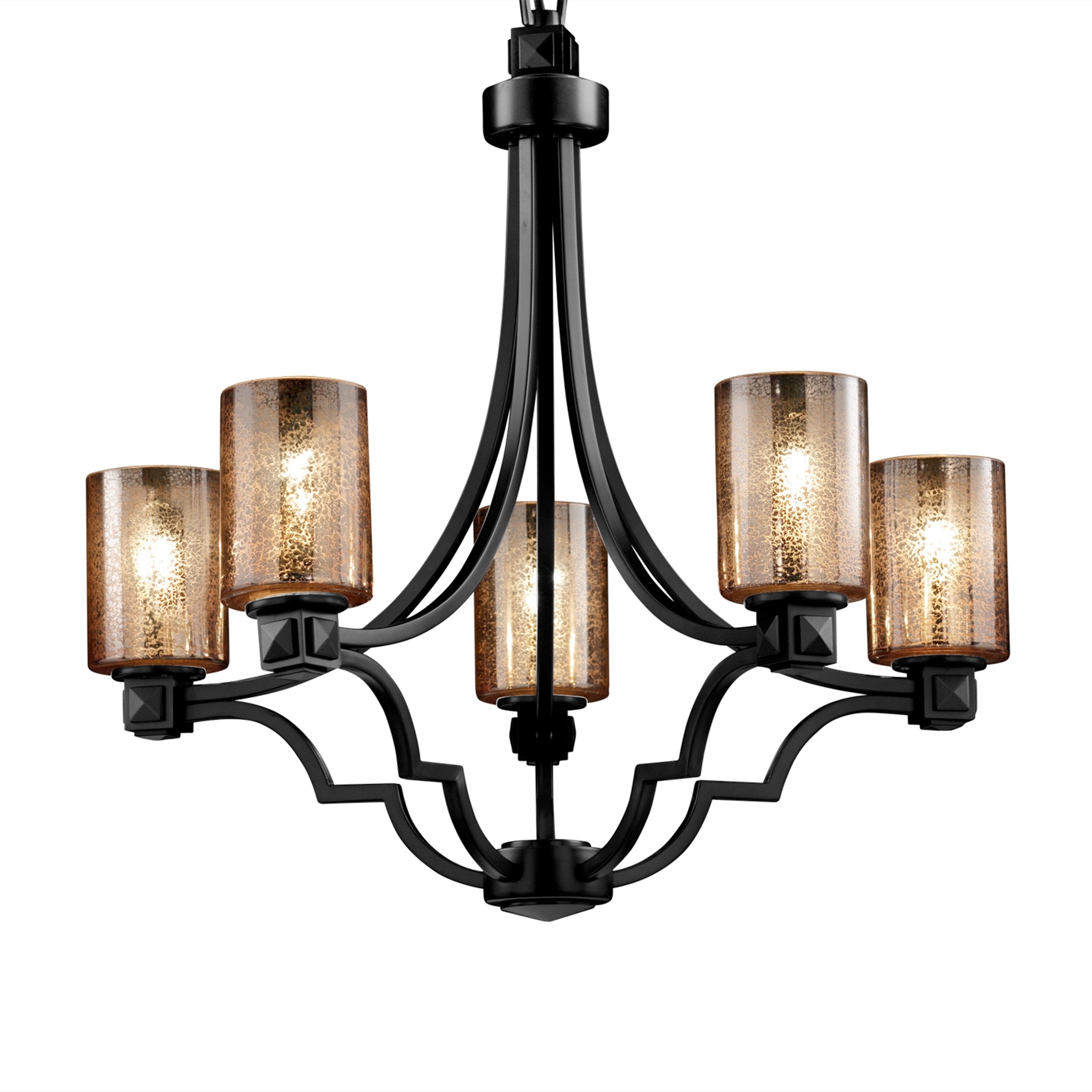 Justice design group fusion argyle 5 light dark bronze chandelier mercury glass cylinder w flat rim shade