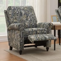 ProLounger Grey Paisley Velvet Push Back Recliner Chair