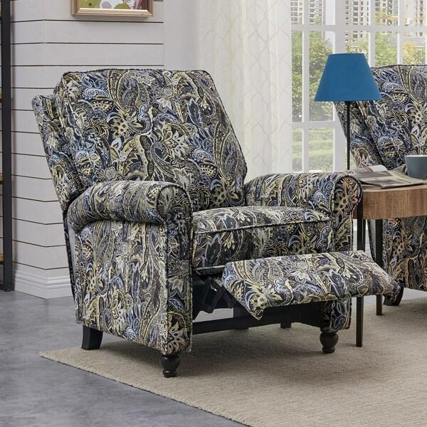 Ordinaire ProLounger Blue Paisley Velvet Push Back Recliner Chair