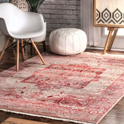 nuLOOM Red Traditional Fancy Medallion Border Area Rug - 9' x 12'