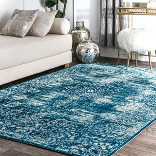 nuLOOM Blue Antique Faded Border Area Rug - 8' x 10'
