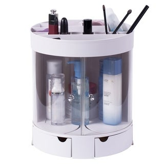 White Plastic Makeup Organizer with Sliding Doors