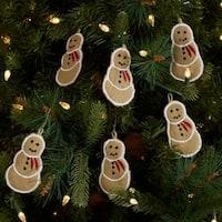 VHC Burlap Natural Tan Holiday Christmas Decor Snowman Ornament Set of 6