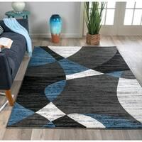 OSTI Blue Modern Geometric Shapes Area Rug - 7'10 x 10'