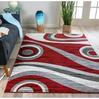 Modern Geometric Circles Red/Grey Area Rug - 7'10 x 10'