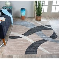 Modern Geometric Design Area Rug Beige - 7'10 x 10'