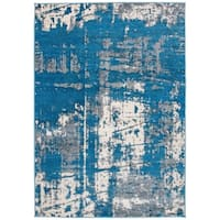 Blue Distressed Modern Abstract Area Rug - 7'10 x 10'
