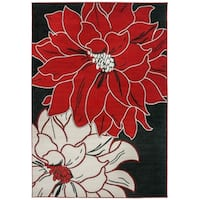 Contemporary Large Floral Design Area Rug Red - 7'10 x 10'