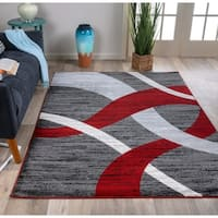Modern Red/Grey Geometric Area Rug - 7'10 x 10'