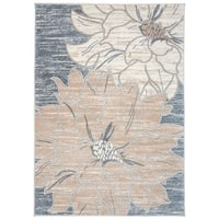 Contemporary Large Floral Design Area Rug Beige - 3'3 x 5'