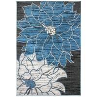 OSTI Blue Contemporary Large Floral Area Rug - 7'10 x 10'