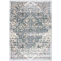 Distressed Traditional Medallion Grey Area Rug - 7'10 x 10'