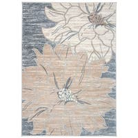 Contemporary Large Floral Design Area Rug Beige - 7'10 x 10'