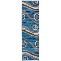 Modern Geometric Shapes Circles Runner Rug Blue - 2' x 7'