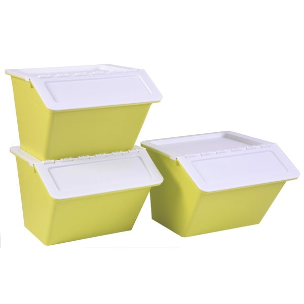 Large Green Plastic Stackable Storage Bins set of 3. Opens flyout.
