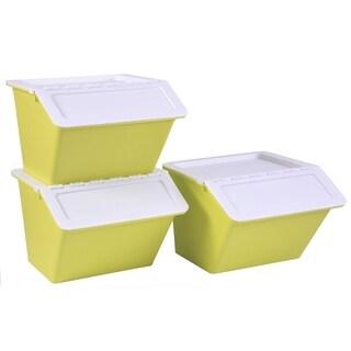 Large Green Plastic Stackable Storage Bins set of 3