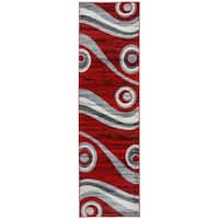 Modern Geometric Shapes Circles Runner Rug Red - 2' x 7'