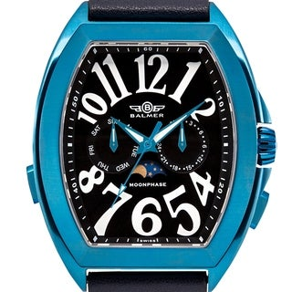 Balmer 'Cobra Vaughn' Men's Swiss Quartz Tonneau Moonphase Stainless Steel and Genuine Leather Strap Watch 47mm Watch