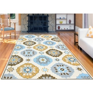 San Mateo Multi-purpose Yellow-Blue Rug - 8' x 10'/Surplus