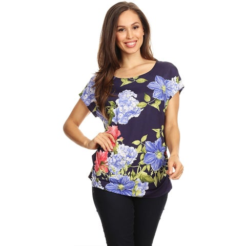 Women's Pattern Print Short Sleeve Tunic Tee