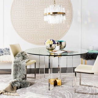 Safavieh Couture Xevera Round Clear Glass, Acrylic, and Brass Finish Stainless Steel Dining Table