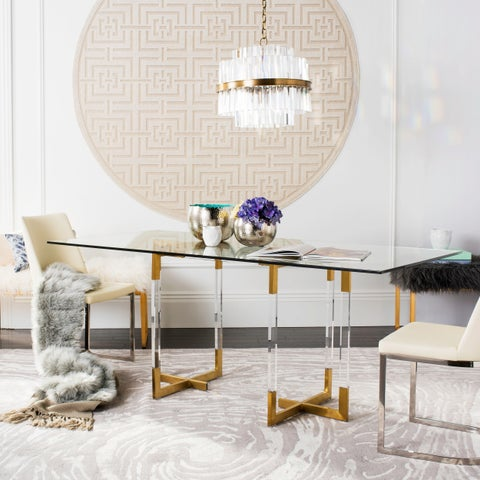 Safavieh Couture Julina Clear/Brass-finish Glass/Stainless Steel Dining Table