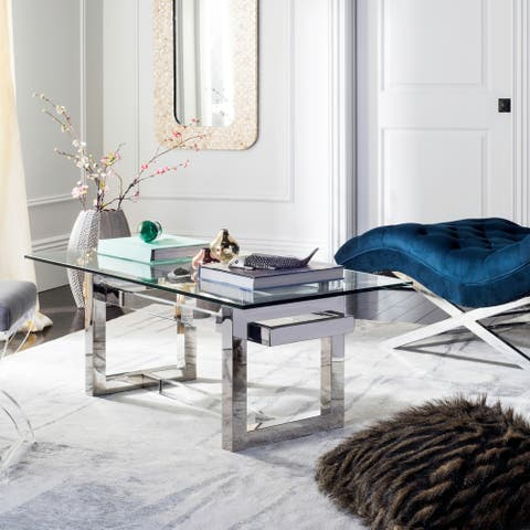 Safavieh Couture Montrelle Clear Glass/Stainless Steel/Acrylic Coffee Table