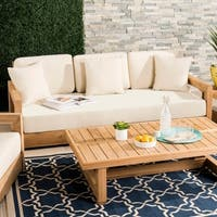 Safavieh Couture Outdoor Montford Teak 3-Seat Sofa - Teak Brown / Beige