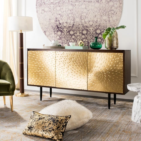Safavieh Couture Eleni Brass Finish Steel and Brown Wood Sideboard