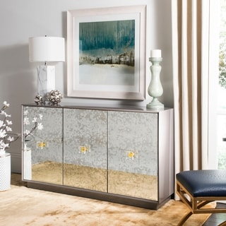 Safavieh Couture Felice Grey Lacquered Wood and Antique Mirror Finish 3-Door Eglomise Sideboard