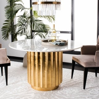 Safavieh Couture Laelia Gold Dining Table - Gold - 47 in w x 47 in d x 29.3 in h