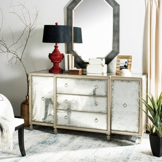 Safavieh Couture Nelia Eglomise Silver Metallic Finish Acacia Wood Buffet
