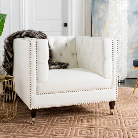 Safavieh Couture Miller White Tufted Leather Commercial Grade Chair - 36.8 in w x 34.3 in d x 30.7 in h