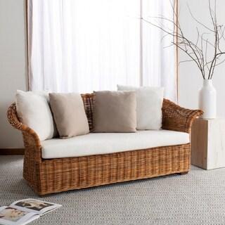 Safavieh Couture Oahu Natural/Cream Wicker/Cotton/Linen Loveseat