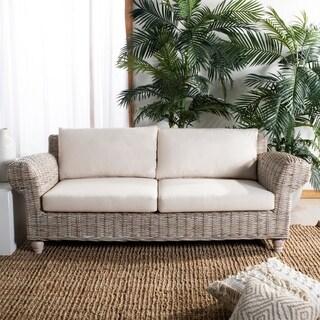 Safavieh Couture Tahiti Whitewash/Beige Wicker/Cotton/Linen 2.5-seat Sofa