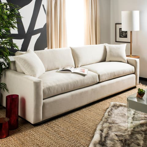 Safavieh Couture Faustina Contemporary Sofa -Sand - 98.5 in w x 39 in d x 34 in h