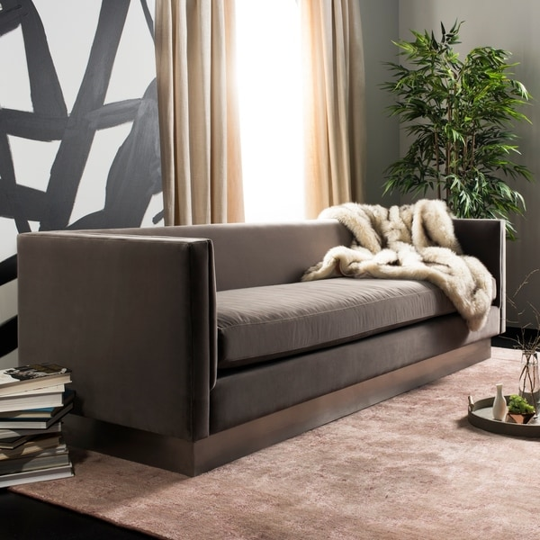 Taupe Velvet Sofa: Shop Safavieh Couture Marquette Taupe/ Silver Velvet