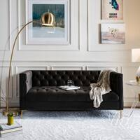 Safavieh Couture Vydia Tufted Dark Grey Velvet Upholstered Sofa with Gold Finish Legs