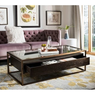 Safavieh Couture Castille Oak/ Brass Commercial Grade Coffee Table - 50.4 in w x 26 in d x 15.7 in h