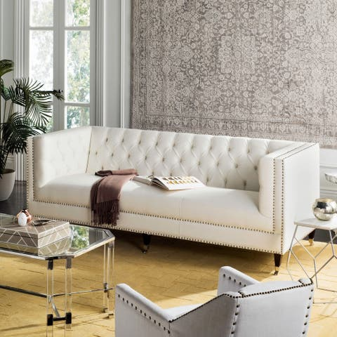 Safavieh Couture Miller White Leather Tufted Commercial Grade Sofa