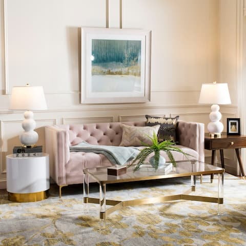 Safavieh Couture Vydia Velvet Tufted Sofa -Blush / Gold
