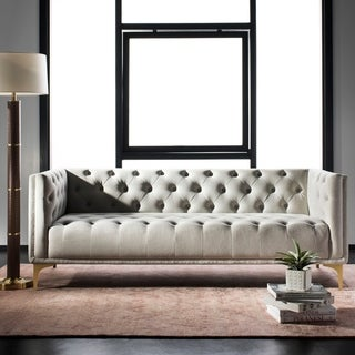 Link to Safavieh Couture Florentino Tufted Sofa -Light Grey / Gold Similar Items in Sofas & Couches