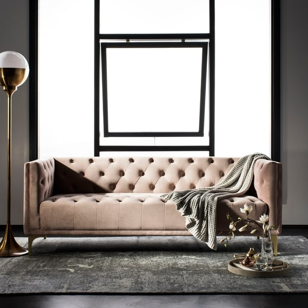 Safavieh Couture Florentino Tufted Sofa -Pale Mauve. Opens flyout.