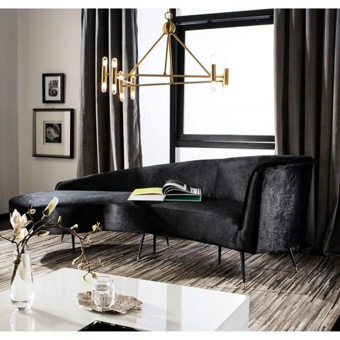 Safavieh Couture Evangeline Black Velvet Parisian Sofa