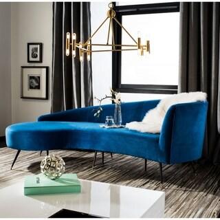 Safavieh Couture Evangeline Navy/Black Velvet/Wood/Metal Parisian Sofa
