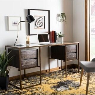 Safavieh Couture Castille Brown Oak, Glass, and Brass Finish Desk