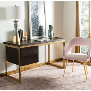 Safavieh Couture Castille Brown Oak and Gold Metallic Steel Desk